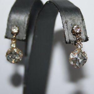 Vintage gold and rhinestone screw on earrings